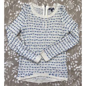 Cream Sweater with Blue Pompoms